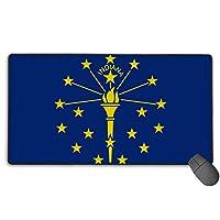 US Flag Of Indiana 特大ゲーム用マウスパッド XXLサイズ テーブルマット 厚さ3mmのゴム製 滑り止め コンピュータ ゲーム、学習仕事適しています-3Dカスタムキーボードパッド