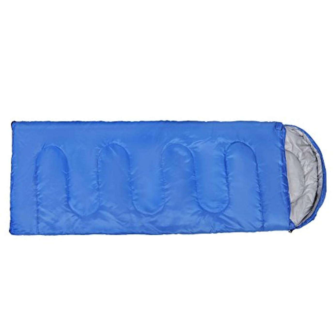 スカウト以降税金寝袋 封筒型 シュラフ オールシーズン 10℃?20℃適用 軽量 コンパクト 車中泊 登山 キャンプ 防災用 青 収納バッグ付き
