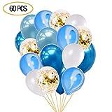 Lucky-day 60枚風船 誕生日 飾り付け 12インチ 紙吹雪バルーンバルーン 誕生日 パーティー 結婚式 記念日-5色 60個