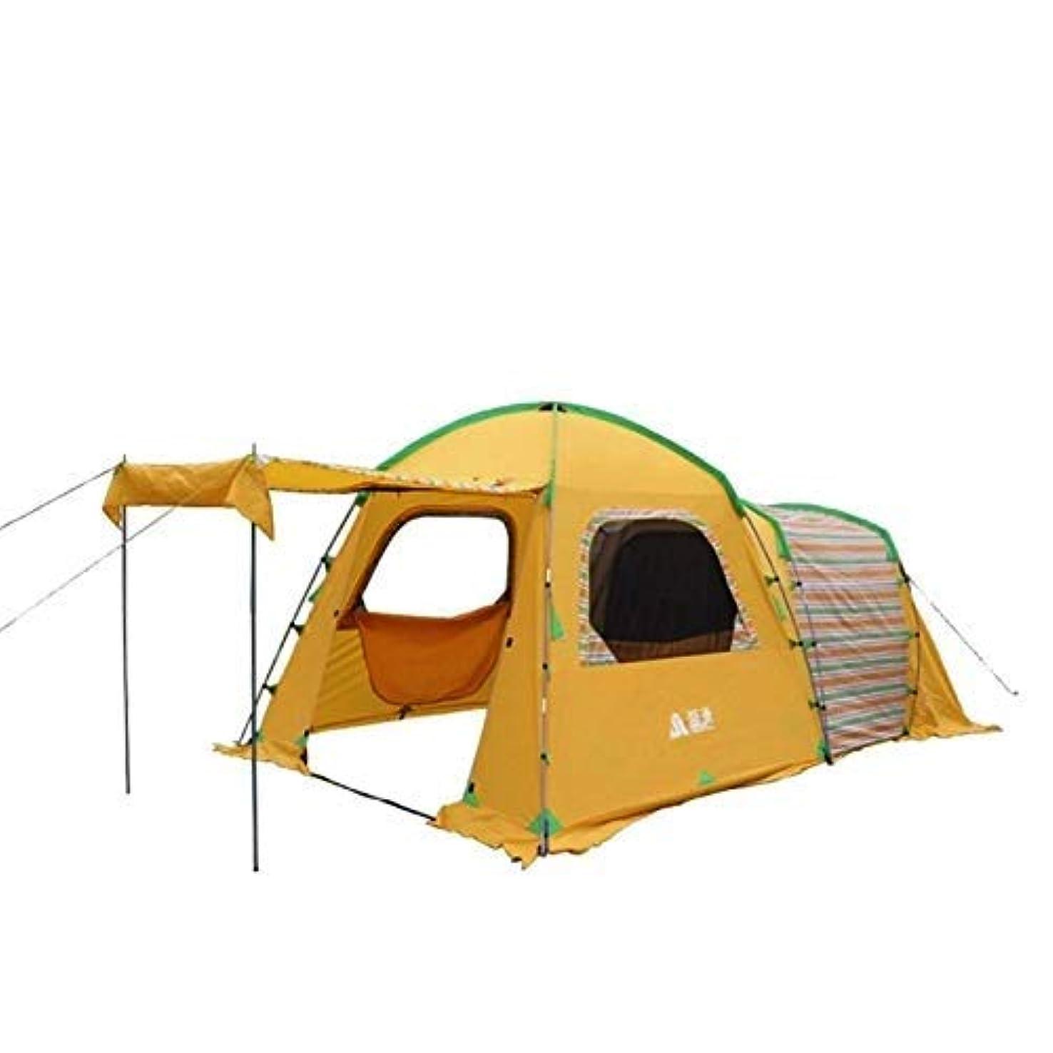 鹿荒野カメラ屋外キャンプテント3-4人国家風二重層防風耐久性日焼け止め防水友達家族旅行休暇ピクニックビーチパーク芝生黄色