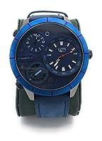 アビオンルミノールミリタリーアビエイターメンズクォーツ腕時計、大きいダイヤルとステンレススチールケースレザーストラップビアンコ