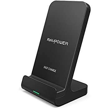 RAVPower Qi 急速 ワイヤレス充電器 【第2世代/Qi認証/10W/Fast Charge/2つのコイル】 iPhone X/Xs/Xs Max/XR/Galaxy S9/S8等のQi対応 RP-PC068 (ブラック)
