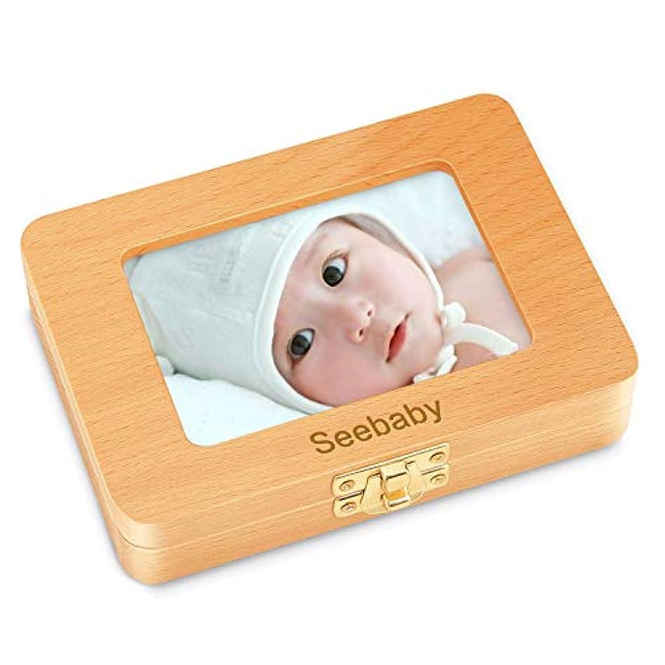 定義関与する不潔乳歯ケース Seebaby 乳歯入れ 赤ちゃん用 記念 木製 写真入れ 名前と抜けた日シール付き 乾燥用綿付き うぶ毛を入れるミニボトル付き