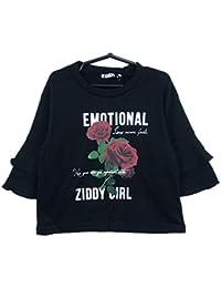 ZIDDY(ジディー) 綿モダールポンチ_袖フレアーTシャツ (140-F:160)★1235-96017/ブラック04