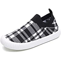 Gungun Kids' Plaid Slip-On Walking Shoes, Lightweight Sneakers with Soft Sole (Toddler/Little Kid)