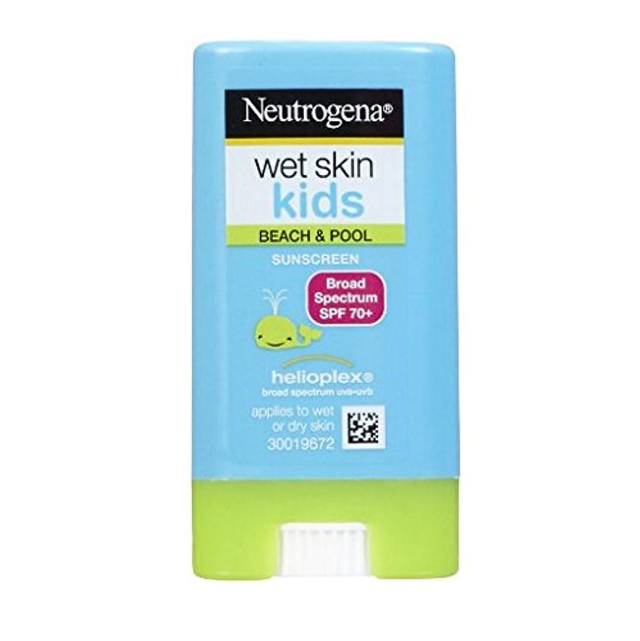 反発繁栄顎ニュートロジーナ サンスクリーン SPF70 小さな子にも塗りやすいスティックタイプ13g 100%ナチュラル処方 目にしみない日焼け止め 濡れた肌にもOK! ビーチやプールで大活躍 アメリカの皮膚科医が一番に勧めるサンスクリーン Neutrogena Wet Skin Kids Beach & Pool Sunscreen Stick Broad Spectrum SPF 70, .47 oz [並行輸入品]
