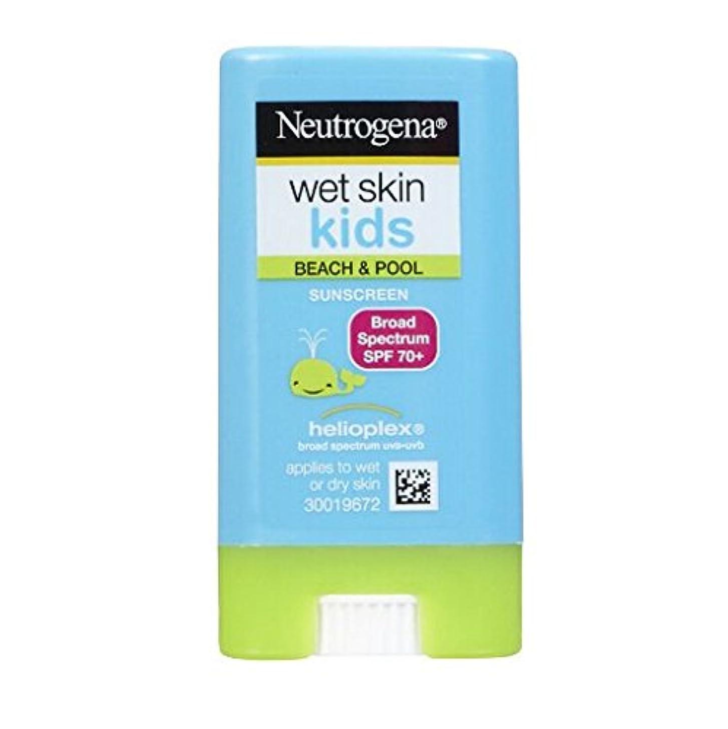 未使用留め金ステンレスニュートロジーナ サンスクリーン SPF70 小さな子にも塗りやすいスティックタイプ13g 100%ナチュラル処方 目にしみない日焼け止め 濡れた肌にもOK! ビーチやプールで大活躍 アメリカの皮膚科医が一番に勧めるサンスクリーン Neutrogena Wet Skin Kids Beach & Pool Sunscreen Stick Broad Spectrum SPF 70, .47 oz [並行輸入品]