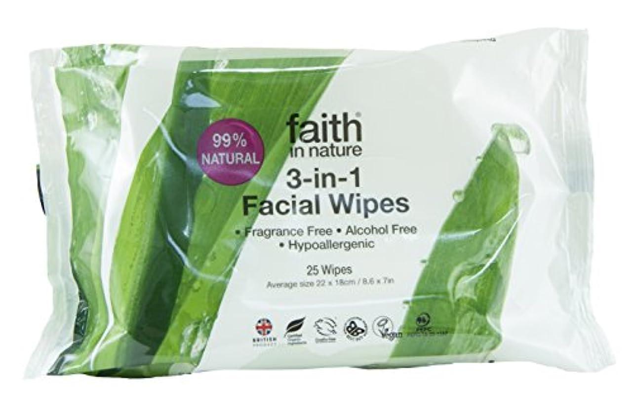 なぜなら扇動する責めるFaith In Nature 3 In 1 Facial Wipes Naturally Gentle Cleanse & Moisturise 25 Wipes