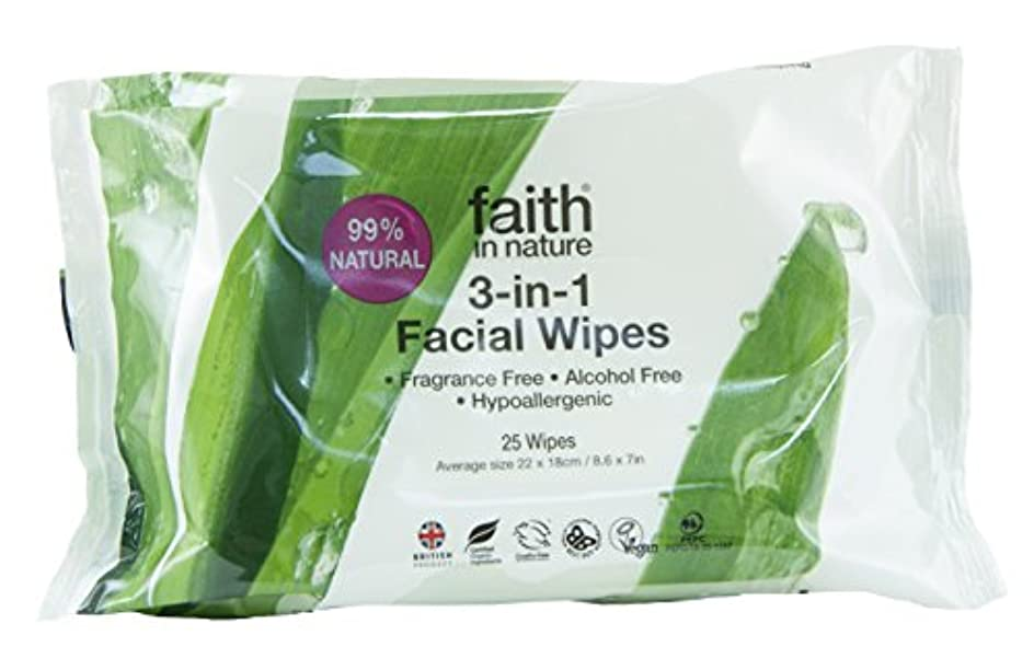 疲れた支援押し下げるFaith In Nature 3 In 1 Facial Wipes Naturally Gentle Cleanse & Moisturise 25 Wipes