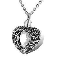 HOUSWEETY メモリアル 誕生石 4月 ネックレス ペンダント ハートの翼デザイン ダイヤモンド 物入れ 防水仕様 色:透明