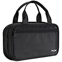 ProCase Portable Makeup Brush Holder Organizer Cosmetic Bag, Multifunctional Dual Layer Travel Makeup Pouch with Handles for Brushes, Jewlery and Beauty Essentials –Black