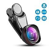 スマホ用超広角カメラレンズ ,0.6X 120°視野角 歪まない アイフォン広角レンズ 15×マクロレンズ 2in1クリップ式レンズ 殆ど機種対応可能 iPhone/Android対応【ブラック】