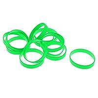 12個入り ゴムバンド リング 輪ゴム リストバンド シリコーン製 多目的 防水 全13色 - ライトグリーン