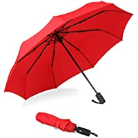 Bagail Compact Travel Umbrella Strong Durable Windproof Umbrellas with Teflon Coating - Reinforced Canopy, Ergonomic Handle, Auto Open/Close Multiple Colors