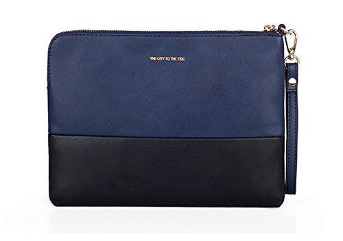 メンズ ユニセックス 鞄 フェイクレザー 合成皮革 セカンドバッグ クラッチバッグ シンプル iPad iPhone収納可能 通勤 通学 緑 青 灰色(ブルー)
