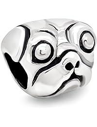925 Sterling Silver Pug Dog Bead Charm Fit Major Brand Bracelet