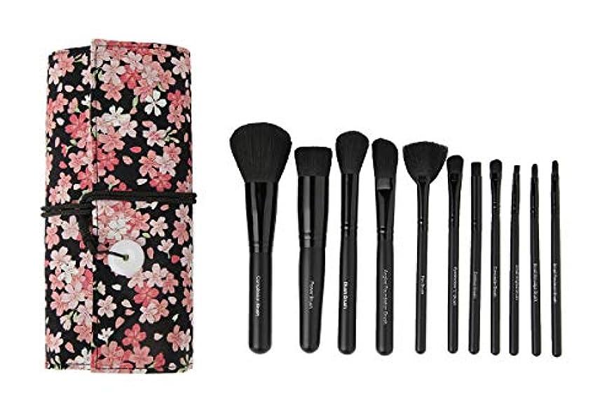 エゴマニア礼儀テメリティHUOYUNK メイクブラシセット人気のメイクブラシ 11本セッ コスメ 専用付ピンクさくら化粧品袋 自宅用と贈り物に最適