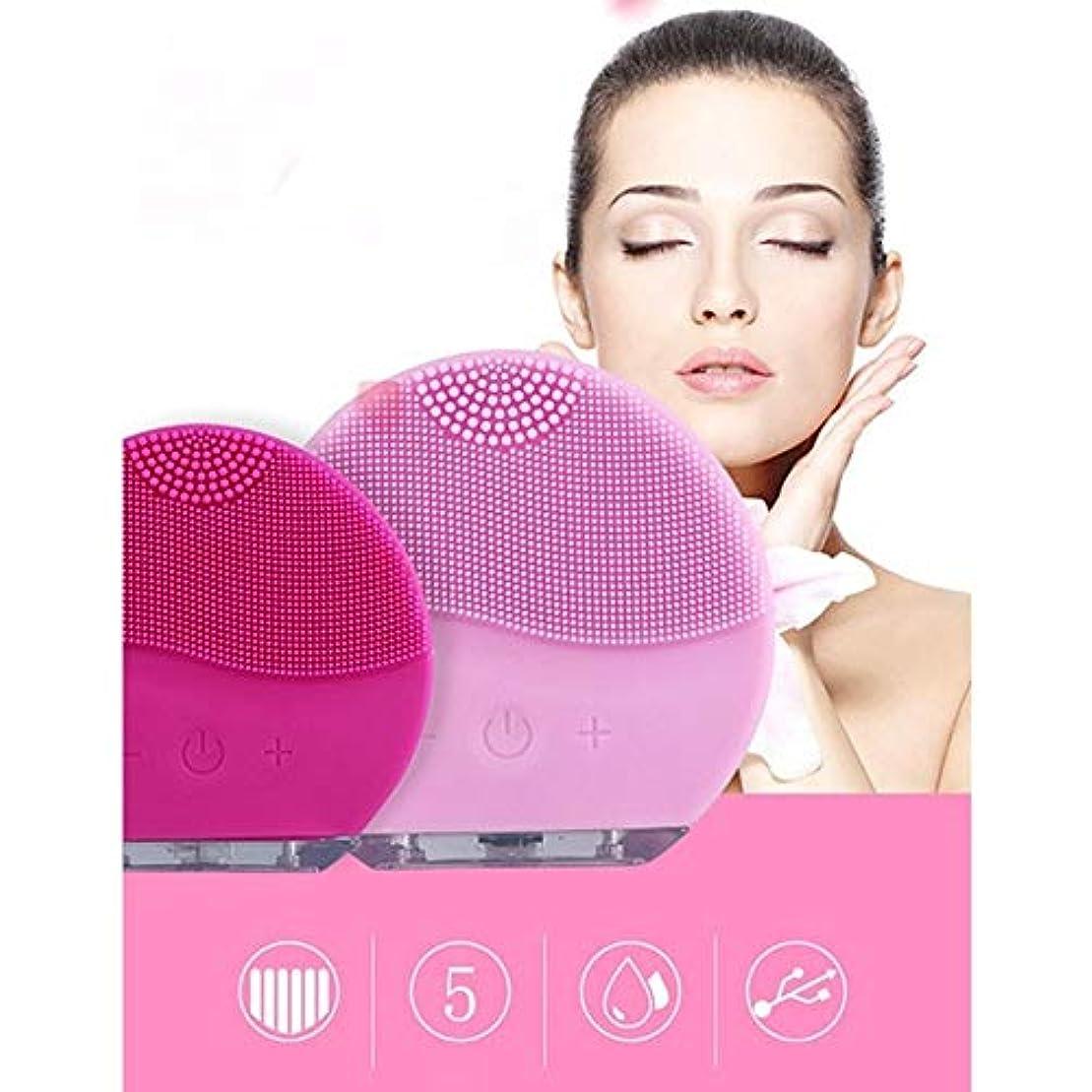 恐怖症足音スペクトラム顔のクリーニングブラシの防水ケイ素の電気Masagerの清潔になるシステム (Color : Rose red)