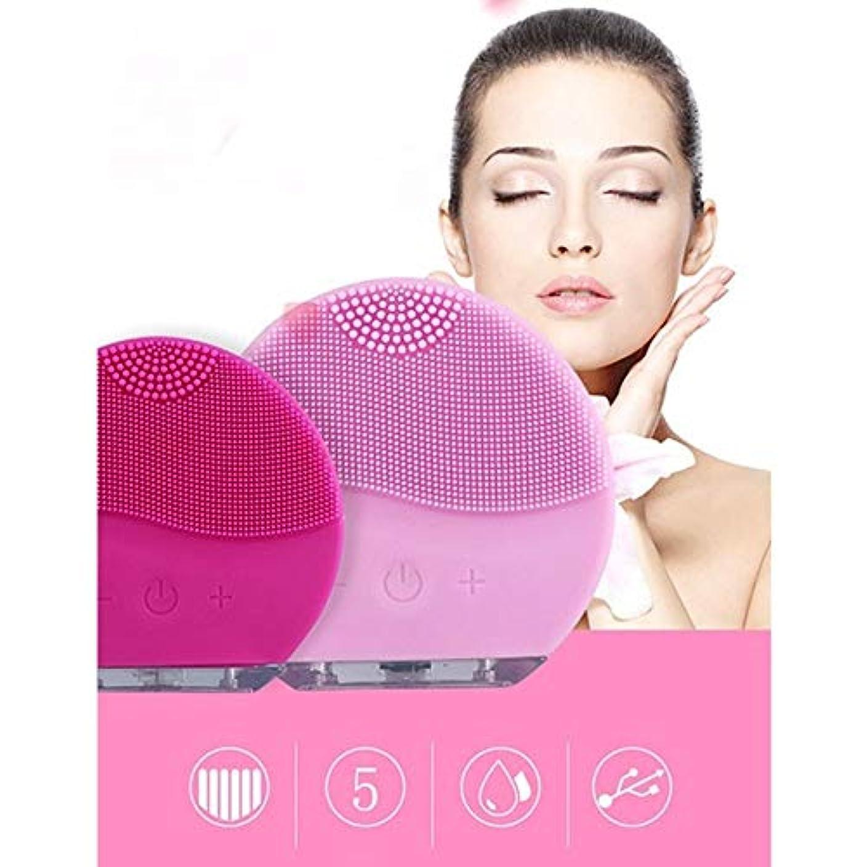 薬用高さピルファー顔のクリーニングブラシの防水ケイ素の電気Masagerの清潔になるシステム (Color : Rose red)