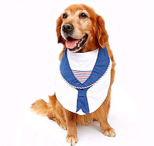 DAN ワンピース 大きな犬 ファッション セーラー ネイビー ネクタイ グルーミング ビッグドッグ よだれかけ ペット コスチューム