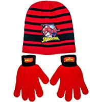 Marvel Spiderman Beanie Winter Hat and Gloves Cold Weather Set, Age 5-13 Black/Red
