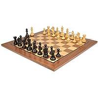 Fierce Knight Staunton Chess Set in Ebonized Boxwood with Walnut Chess Board - 3.5 King by The Chess Store [並行輸入品]