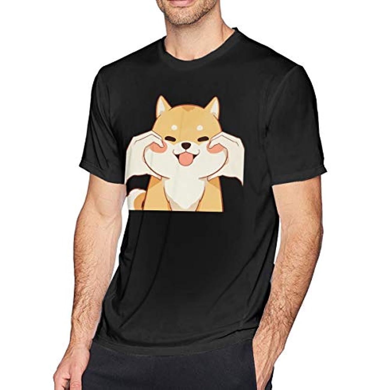 最も寂しい国内の男の 半袖の純綿のTシャツ, 経典の かわいい日本の柴犬 上着 対する男, 円襟