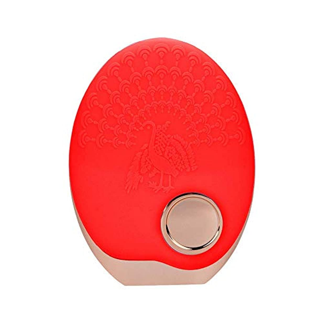SOUTHTECH 光子活性化クレンジング器具 顔の清潔になるブラシ、3色LEDの光子ライトが付いている超音波無線充満表面剥離のブラシのシリコーンの防水マッサージャー (赤)
