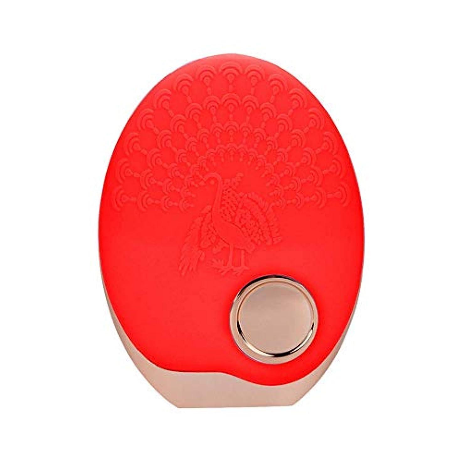 一流アトラス過剰SOUTHTECH 光子活性化クレンジング器具 顔の清潔になるブラシ、3色LEDの光子ライトが付いている超音波無線充満表面剥離のブラシのシリコーンの防水マッサージャー (赤)