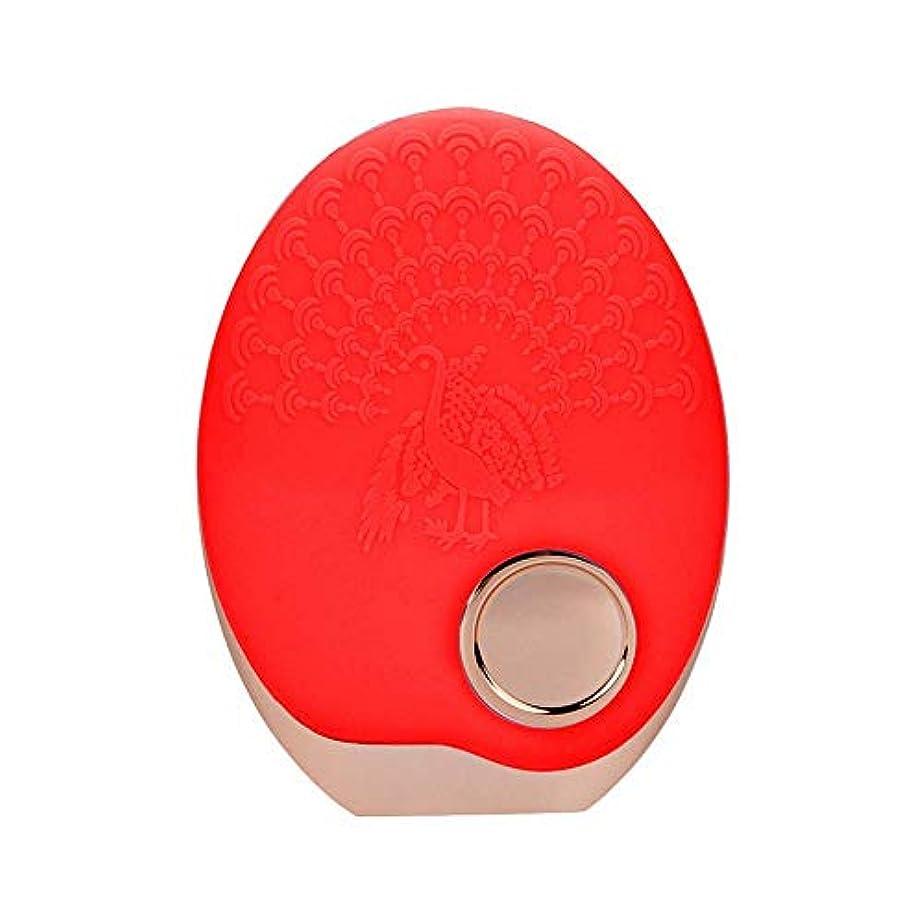 解き明かすメルボルンかわいらしいSOUTHTECH 光子活性化クレンジング器具 顔の清潔になるブラシ、3色LEDの光子ライトが付いている超音波無線充満表面剥離のブラシのシリコーンの防水マッサージャー (赤)