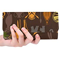 Unique Custom African Ethnic Pattern With Stylized Icons Women Trifold Wallet Long Purse Credit Card Holder Case Handbag