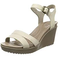 crocs Womens Leigh II Ankle Strap Wedge Oatmeal/Khaki