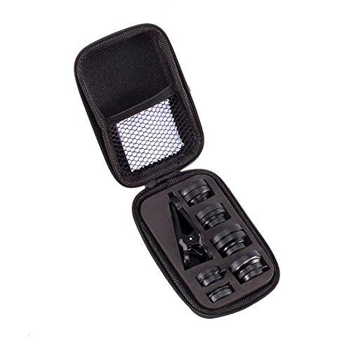 Akinger新作 7in1スマホカメラレンズキット(198度魚眼レンズ、15×マクロレンズ、0.36×超広角レンズ、0.63×広角レンズ、2×望遠鏡、偏光レンズ、万華鏡レンズ)クリップ式 全機種対応 簡単装着 (7in1(贈り物))