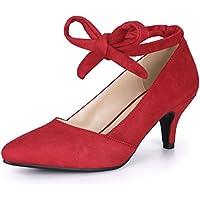 Allegra K Women's Pointed Toe Lace Up Kitten Heel Pumps