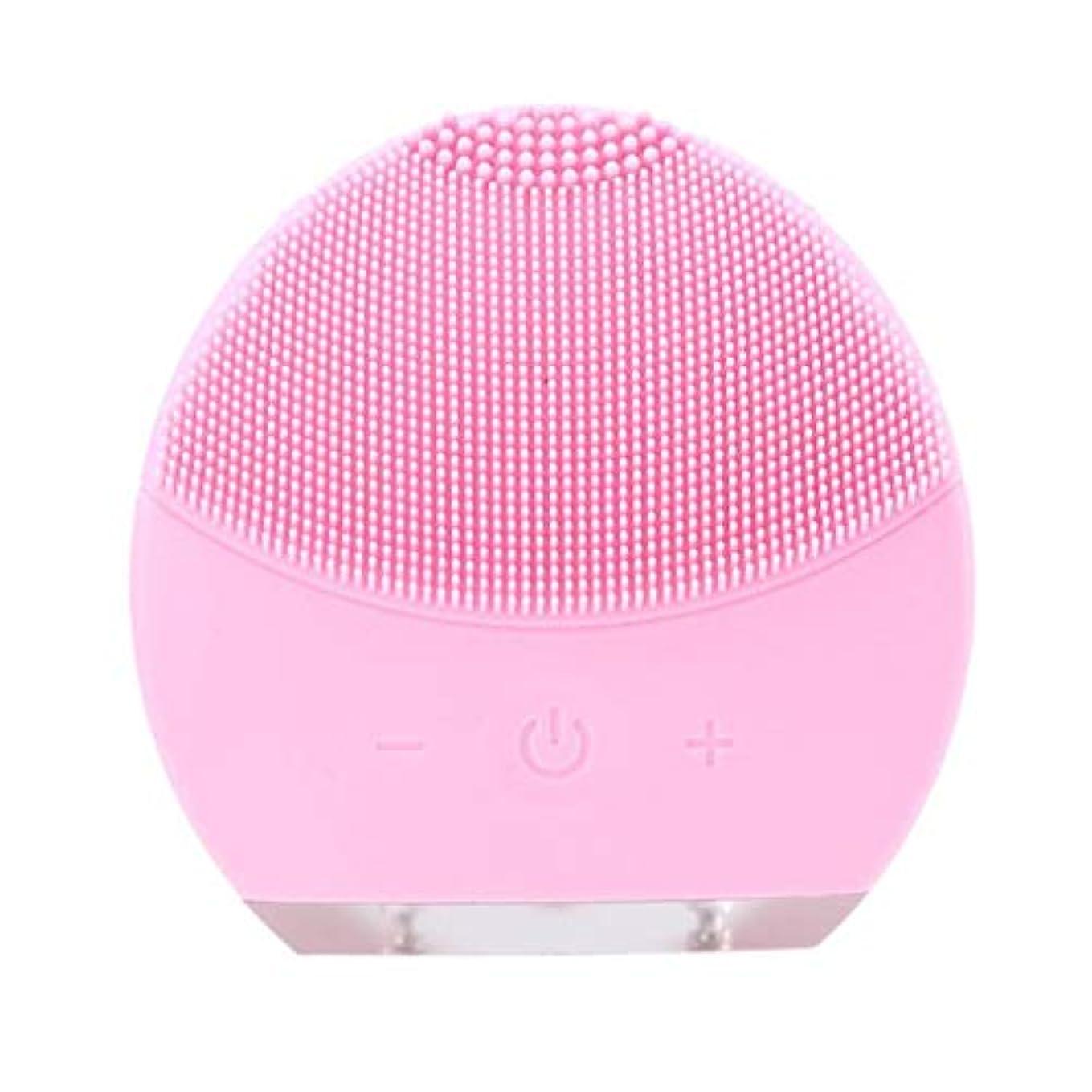 インフレーション資産直感超音波振動美容機器洗浄器、皮膚の毛穴を最小限に抑えるマイクロダーマブレーション毛穴、USB 充電と防水,Pink