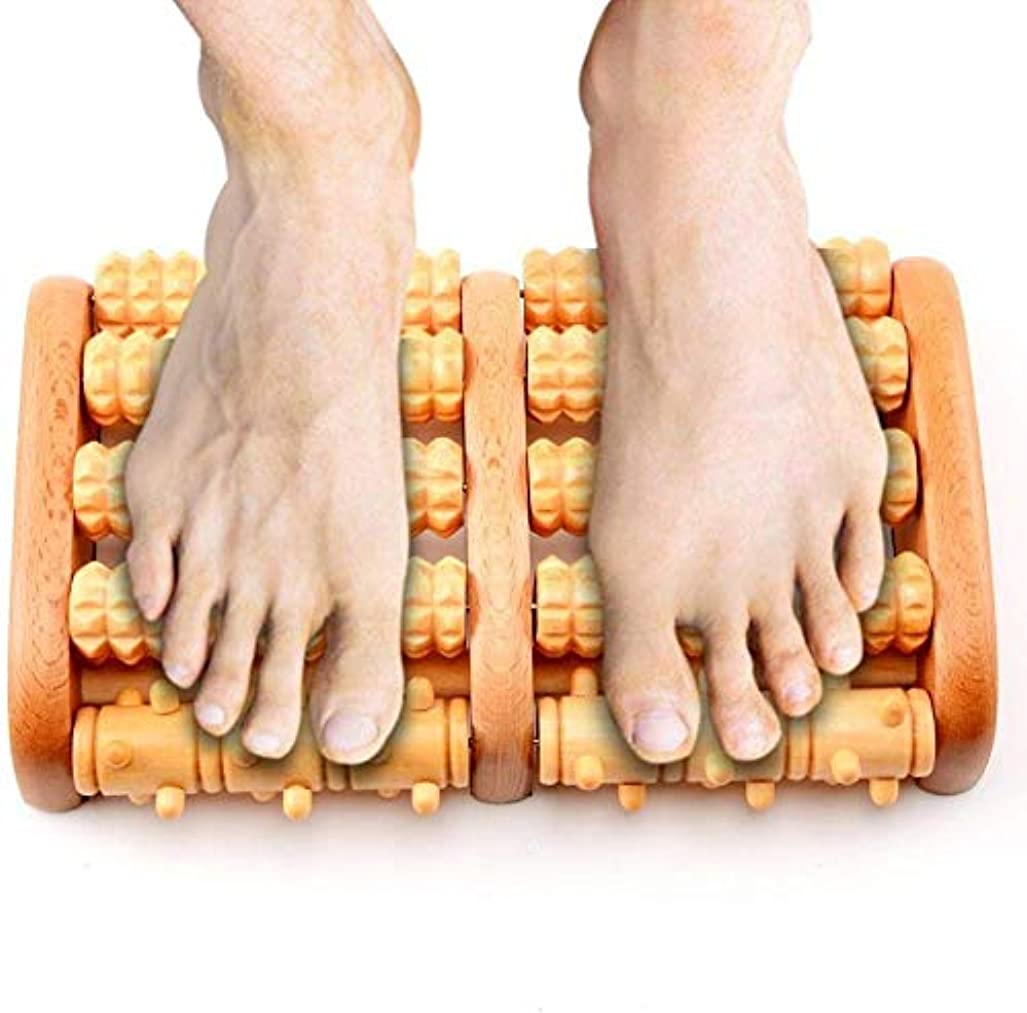 キャンプデザイナー郵便物デュアルフットマッサージャーローラー、足底筋膜炎の痛みを軽減するための木製フットマッサージャー,AAA