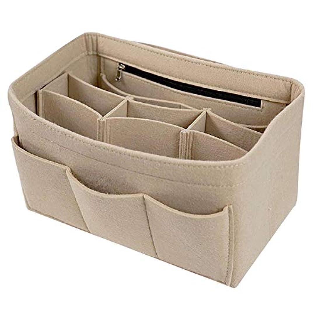 珍しい項目不実SODIAL フェルトインサートバッグ ジッパーマルチポケットハンドバッグ 財布オーガナイザーホルダー 化粧旅行、ベージュL:30 x 16 x 16 cm