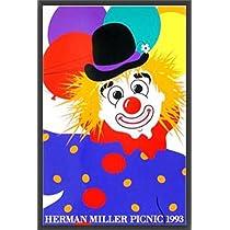 ポスター ハーマンミラー Clown サマーピクニック 1993年 Kathy Stanton 額装品 ウッドベーシックフレーム(ブラック)