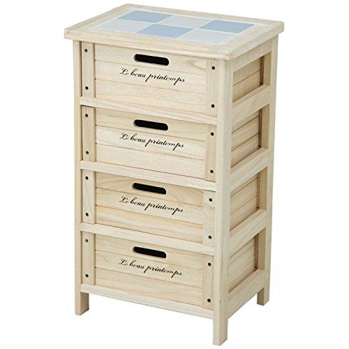 不二貿易 木製ボックス 4段 幅40cm ナチュラル 68094