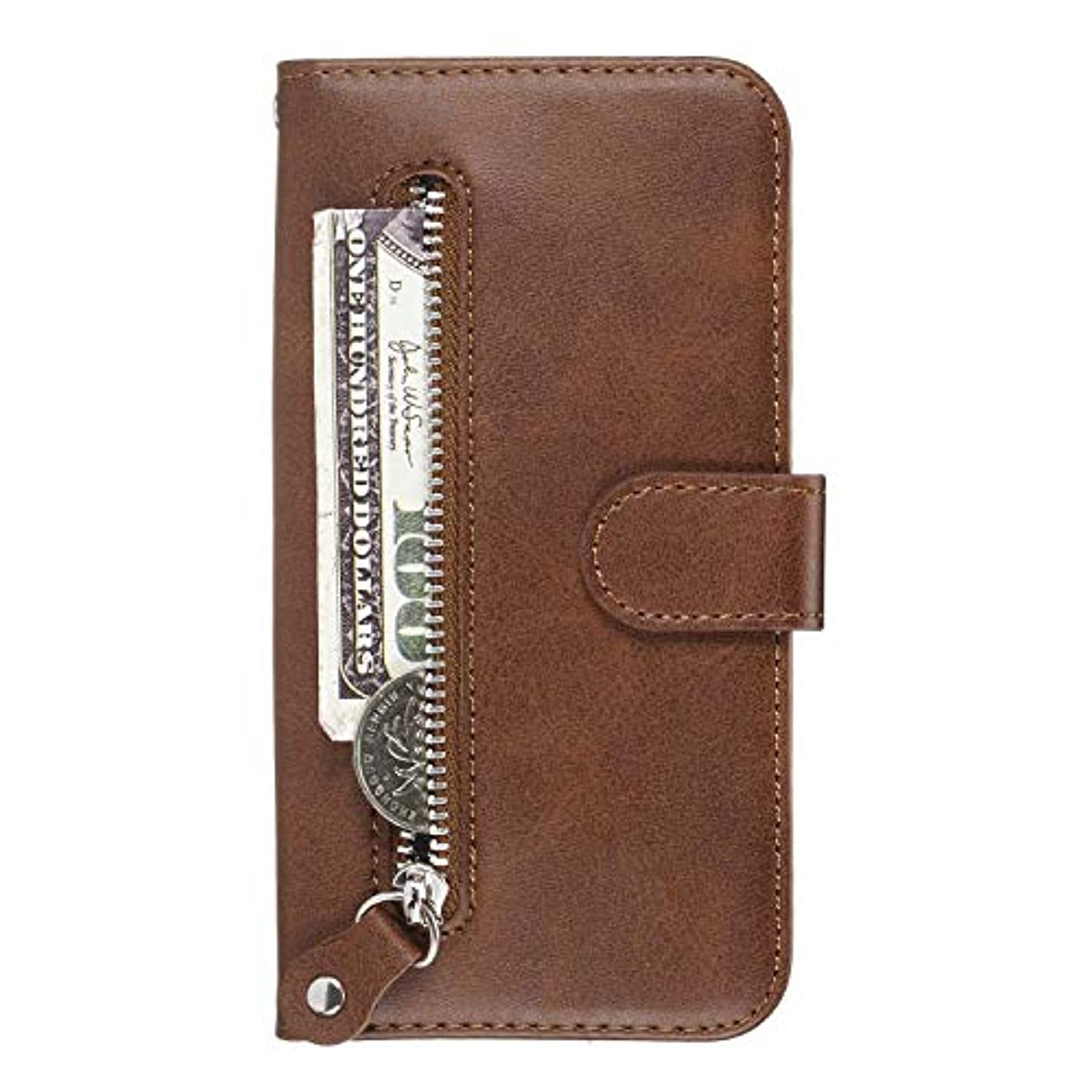 ドロップ検出器構想するOMATENTI iPhone XR ケース, 軽量 PUレザー 薄型 簡約風 人気カバー バックケース iPhone XR 用 Case Cover, 液晶保護 カード収納, 財布とコインポケット付き, 褐色