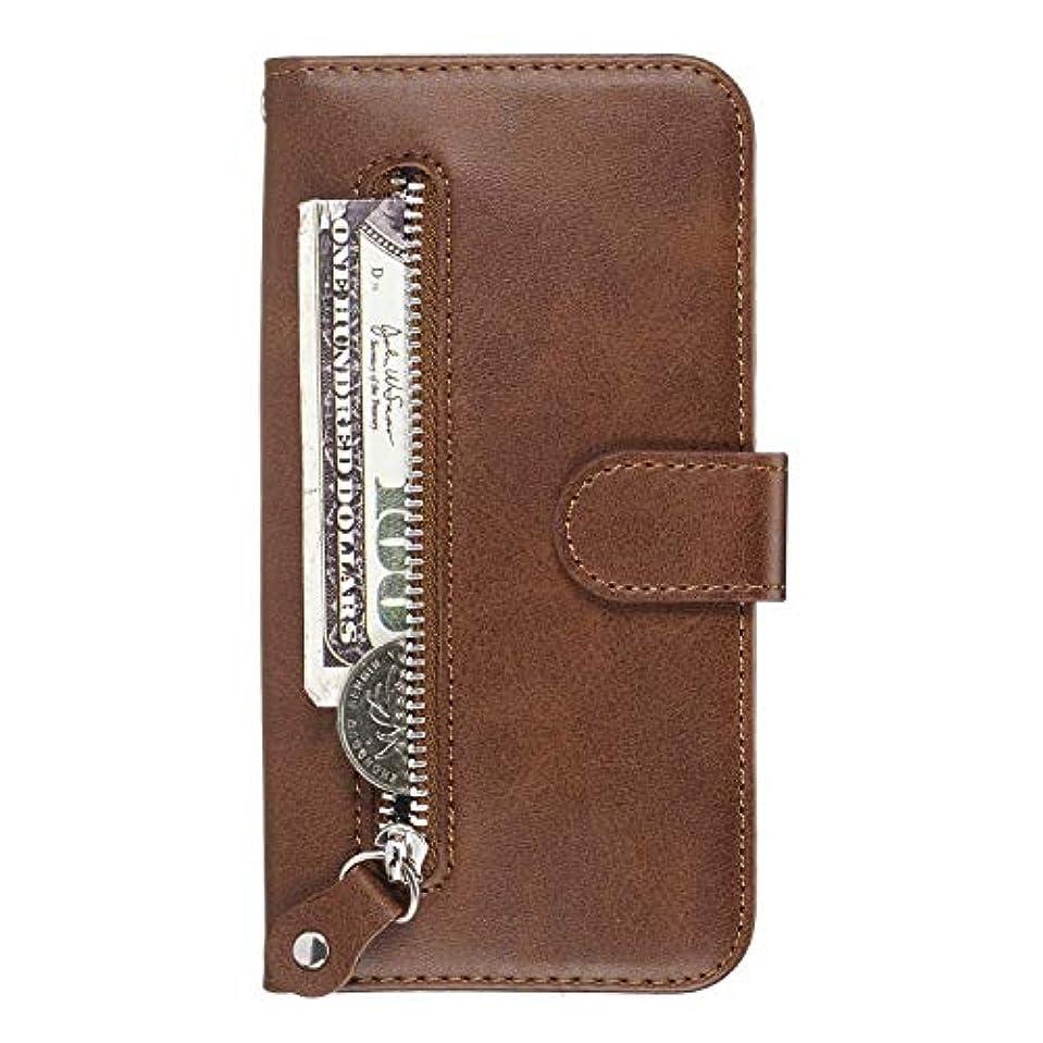 よく話される白いモールス信号OMATENTI Galaxy M20 ケース, 軽量 PUレザー 薄型 簡約風 人気カバー バックケース Galaxy M20 用 Case Cover, 液晶保護 カード収納, 財布とコインポケット付き, 褐色