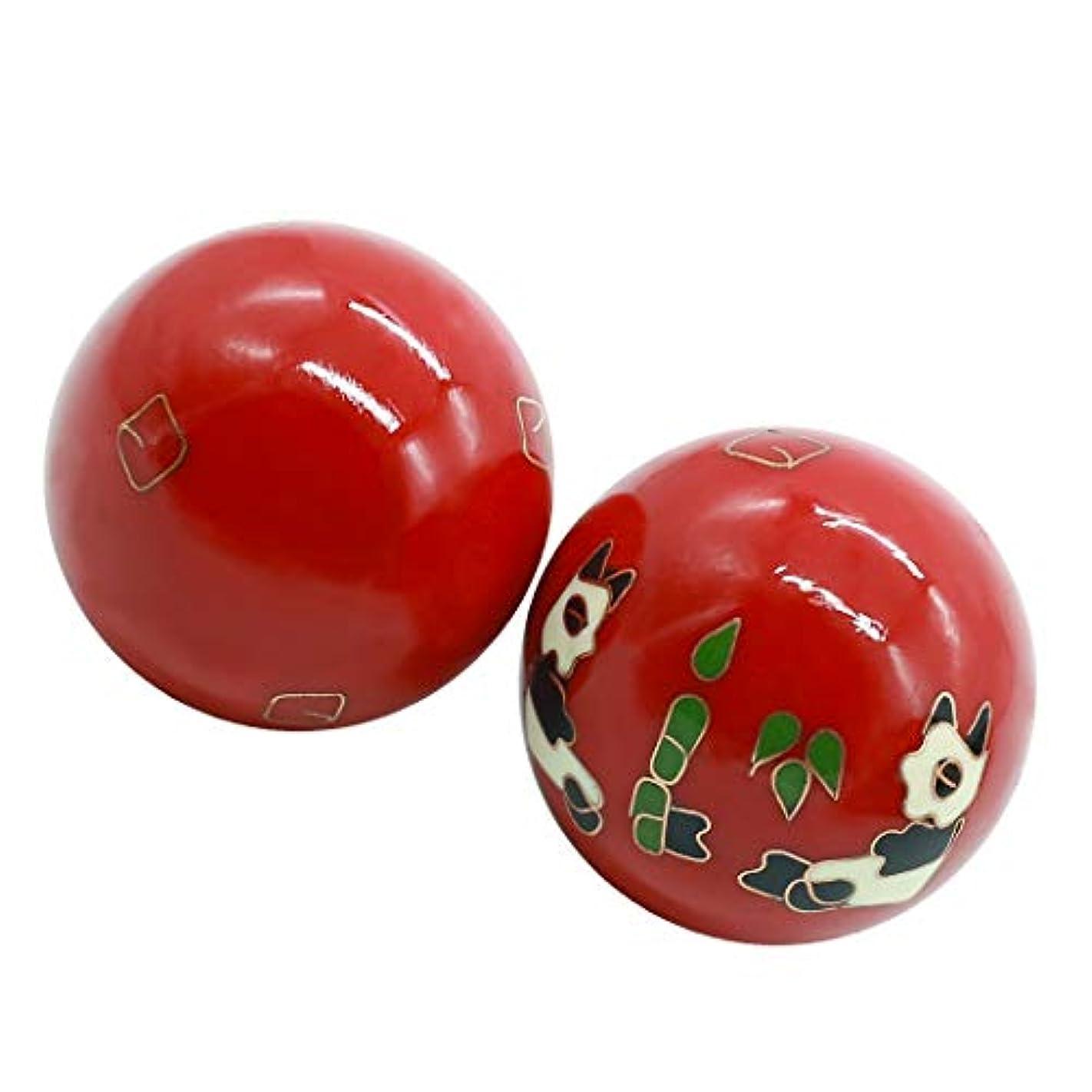 出発のぞき穴フォーマット風水グッズ 健康球 健身球 脳 活性 ストレス トレーニング器具 手の機能回復 2個 パンダ (赤い, 35mm) INB166