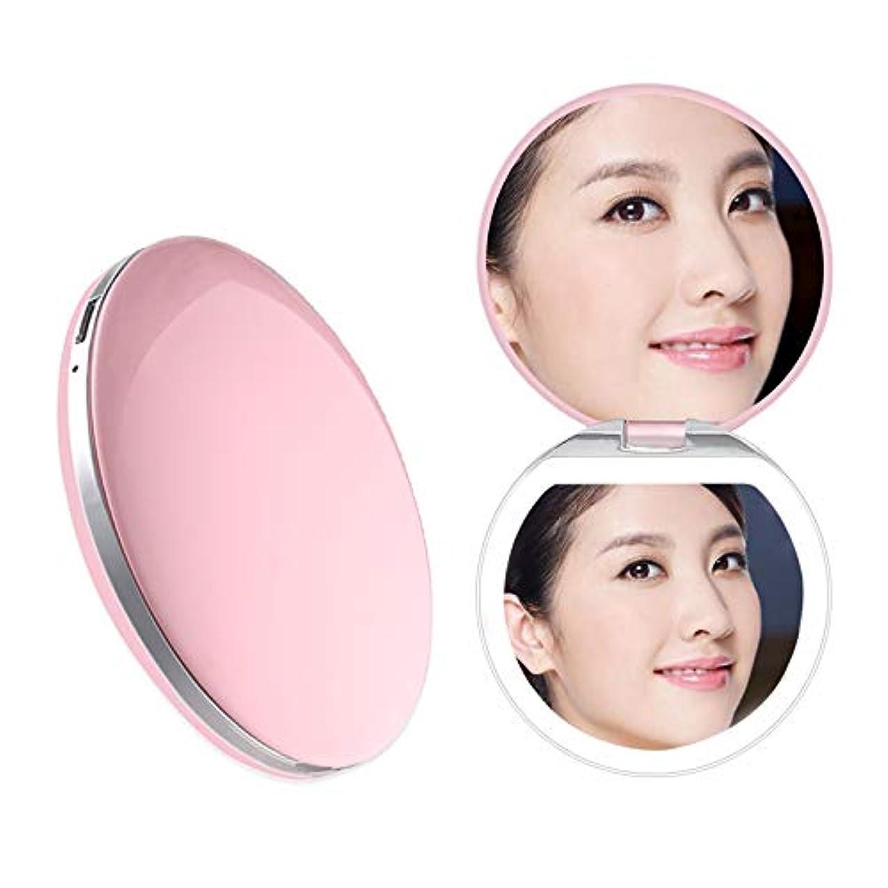 和解する鮫感じるHeartyfly 携帯ミラー 鏡 LED手鏡  二面鏡 折り畳み式化粧鏡 メイクアップミラー usb充電 3倍拡大 持ちやすい 便利 (ピンク)