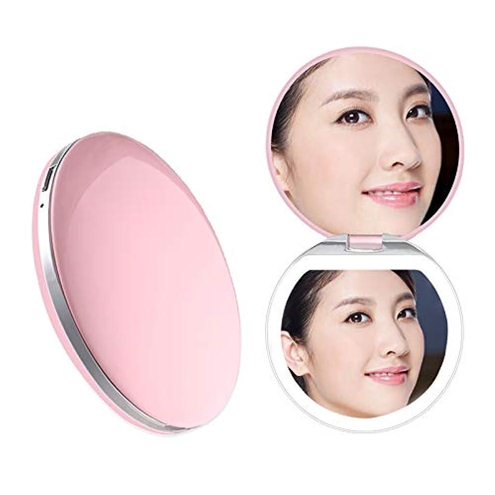 Heartyfly 携帯ミラー 鏡 LED手鏡  二面鏡 折り畳み式化粧鏡 メイクアップミラー usb充電 3倍拡大 持ちやすい 便利 (ピンク)