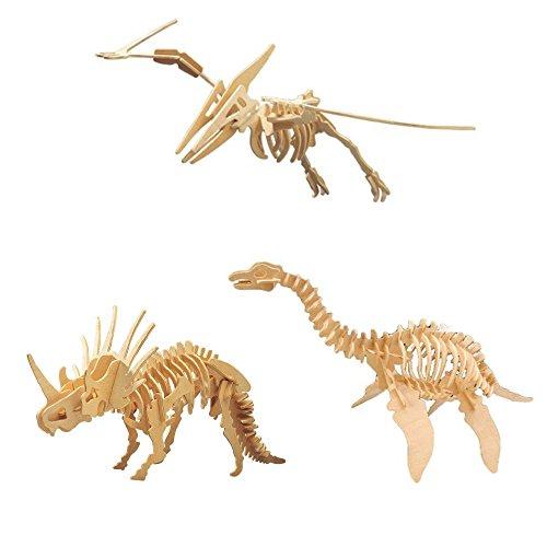 3D 木製 立体パズル 3点セット DIY ( 恐竜、動物、爬虫類 etc )創造力を鍛える 知育玩具 夏休み 工作キットにも最適。 (A-2:恐竜 3点セット)