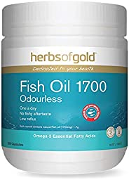 Herbs of Gold Fish Oil 1700 Odourless 200 Capsules, 200 count