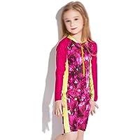 LHY- Girls Swimwear Swimsuit Girl One-Piece Fashion Beach Sunscreen Long Sleeve Swimsuit Female Pretty (Color : B, Size : 12)