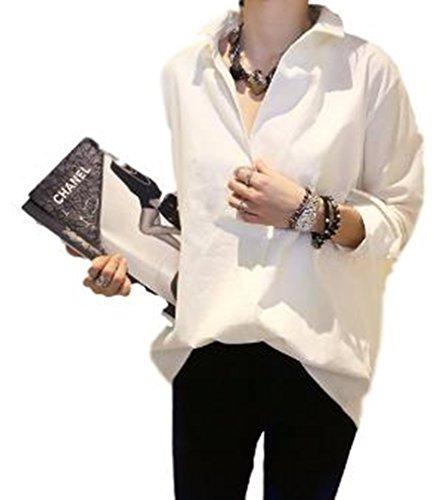 (メイモカ) MEIMOCHA ロング トップス カットソー Yシャツ V ネック 白 シャツ レディース (M)