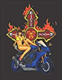 2020 Motorcycle Calendar and Planner For Bikers: Motorcycle Sexy Biker Babe Pin Up Cross Flames Bike | December 2019 - December 2020 | 8.5 X 11