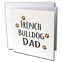 InspirationzStoreペットデザイン–French Bulldog Dog Dad–Doggie by Breed–ブラウンMuddy Paw Prints–犬愛好家–ペットオーナーProud–グリーティングカード Individual Greeting Card